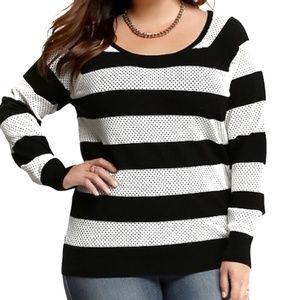 Torrid Open Stitch Black & White Striped Sweater